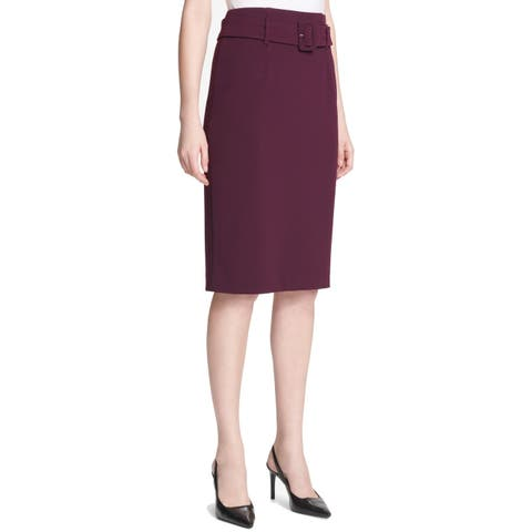 Calvin Klein Womens Pencil Skirt Purple Size 10P Petite High Waist Belt