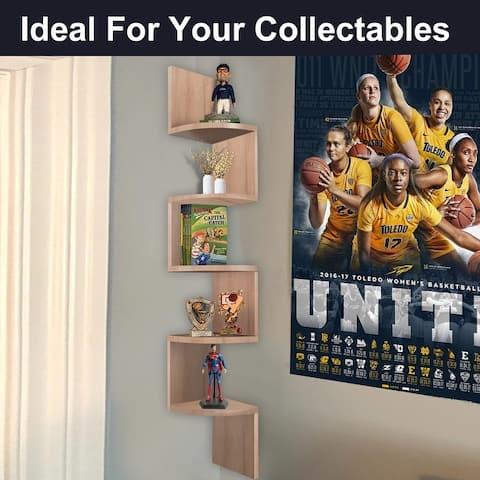 NOVA FURNITURE 5 Tiers Floating Wall Mount Corner Bookshelves&Bookcase, Home Decor Display Shelves,Space saving