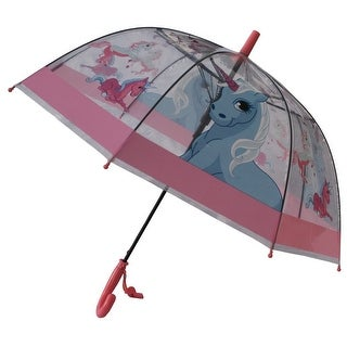 Foxfire Girls Clear Dome Pink Trim Unicorn Whistle Umbrella 29""