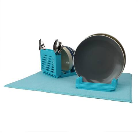 3 Section Dish Drying Rack with Mat, Turquoise