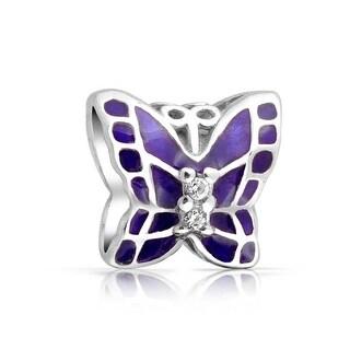 Bling Jewelry Purple Enamel 925 Silver Butterfly CZ Charm Bead