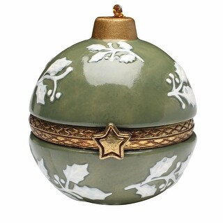Bandwagon Christmas Decoration - Porcelain Surprise Ornaments Box - White Holly - 3.5 in. x 3.5 in.