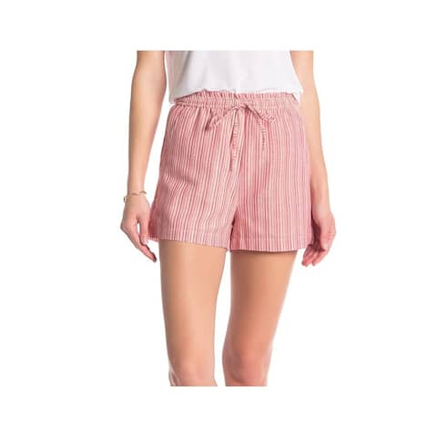 Elodie Womens Shorts Red Size Small S Striped High-Waist Tie-Front