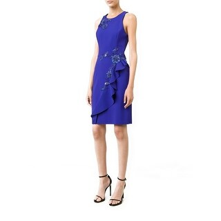 Marchesa Notte Embellished Ruffle Sheath Cocktail Dress Blueberry - 2