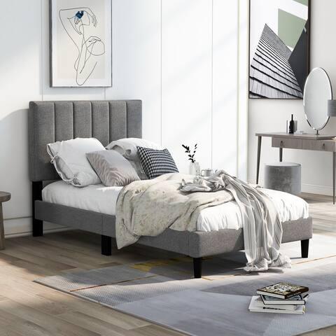 AOOLIVE Upholstered Platform Bed Frame, Wood Slat Support, Twin, Grey