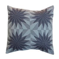 Vivai Home Grey Four Moons Embroidered Square 24x 24 Cotton Feather Pillow