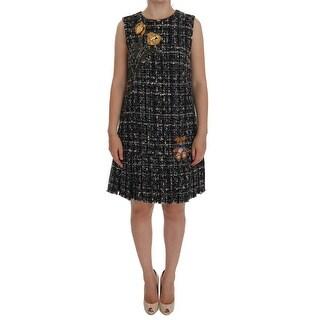 Dolce & Gabbana Gray Wool Short Crystal Teddy Bear Dress