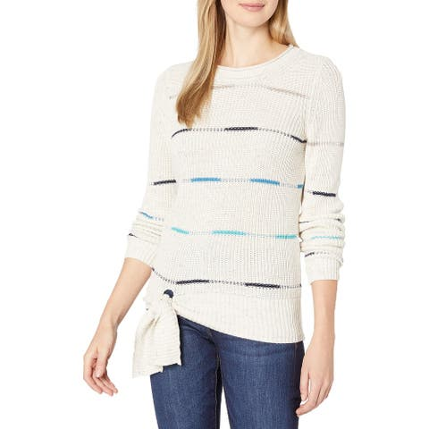 NIC+ZOE Womens Knit Sweater White Ivory Size Large L Tie-Hem Pullover
