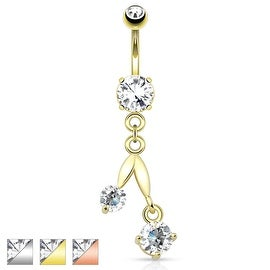 Cherry Dangle with Clear CZ 316L Surgical Steel Navel Ring (Sold Individually)
