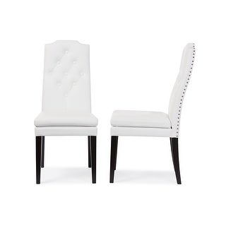 Dylin White Faux Leather Button-Tufted Nail heads Trim Dining Chair - 2 Chairs