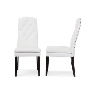 Link to Dylin White Faux Leather Button-Tufted Nail heads Trim Dining Chair - 2pcs Similar Items in Dining Room & Bar Furniture