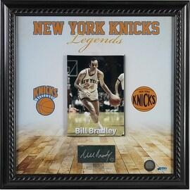 Bill Bradley New York Knicks Legends 14x14 Framed Collage w/ Signed Court Piece