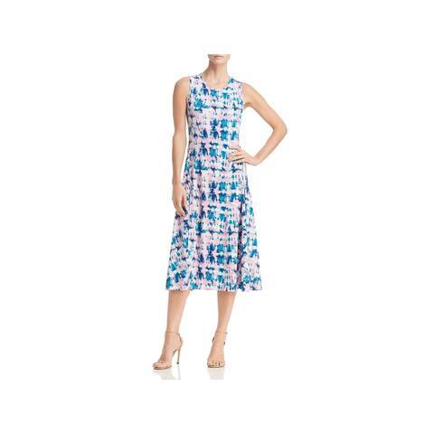 Donna Karan Womens Midi Dress Tie-Dye Sleeveless