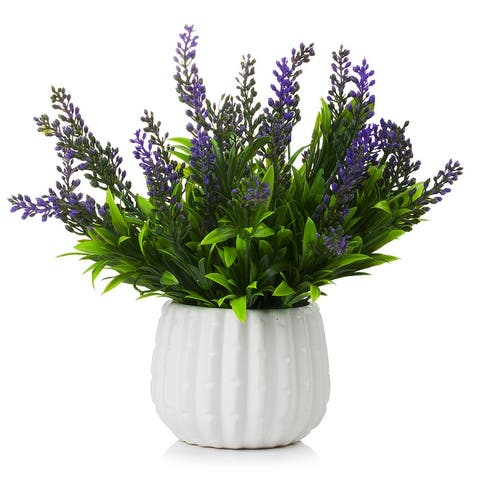 Enova Home High Quality Artificial Plastic Lavenders Fake Flowers in White Ceramic Pot for Home Office Decoration