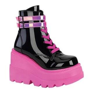 Demonia Women's Shaker 52 Platform Ankle Boot Black Patent/UV Neon Pink