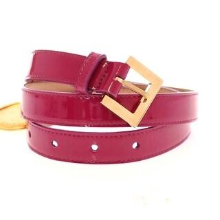 Dolce & Gabbana Pink Leather Logo Charm Belt - 80-cm-32-inches