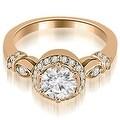 0.70 cttw. 14K Rose Gold Antique Round Cut Diamond Engagement Ring - Thumbnail 0