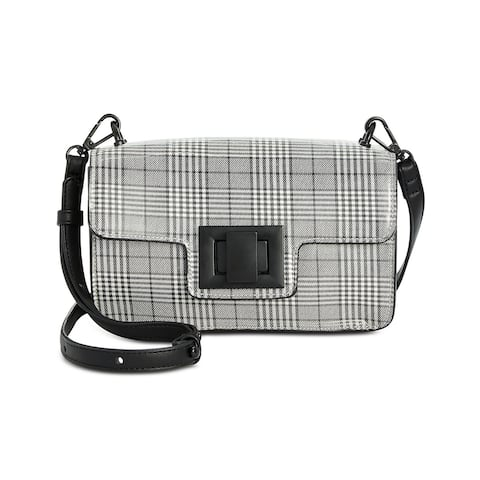 Steve Madden Womens Brit Plaid Crossbody Bag Black/White