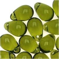 Czech Glass Beads 9mm Teardrop Olivine Green (50