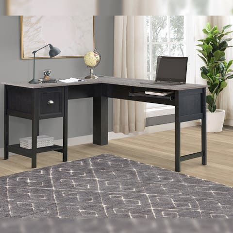 """Tanya 56"""" L-Desk With Keyboard Pullout Tray"""