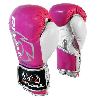 Rival Boxing RB7 Fitness+ Hook and Loop Bag Gloves - Pink/White (Option: 10 Oz.)