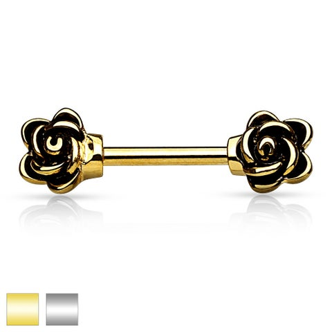 Casted Flowers Gold IP 316L Surgical Steel Nipple Bar (Sold Individually)