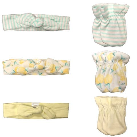 MODERN BABY Headband & Mitten Set For Baby's Bows & No Scratch Mittens