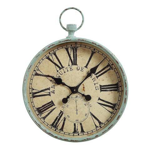 """Metal """"Antiquite De Paris"""" Aqua Pocket Watch Wall Clock"""