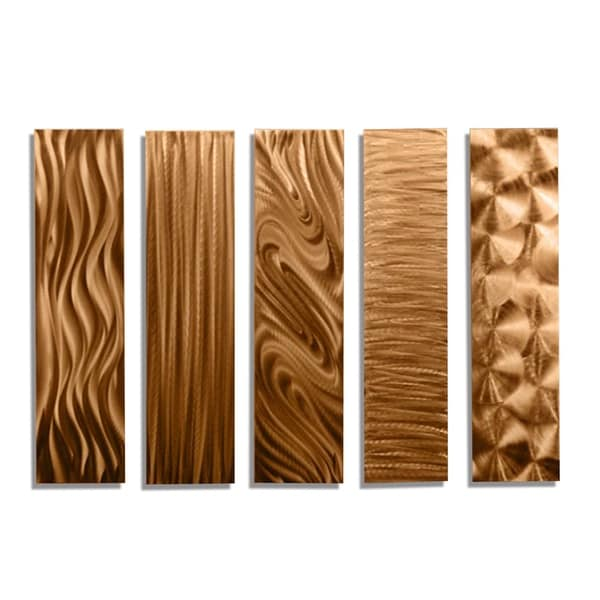 Statements2000 Set of 5 Copper Metal Wall Art Accents by Jon Allen - 5 Easy Pieces Copper