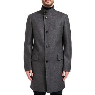 Hugo by Hugo Boss Mens C-Sintrax Band Collar Coat 46R Dark Grey Overcoat