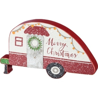 Merry Christmas Red and White Camper Shaped Shelf Sitter Painted Wood