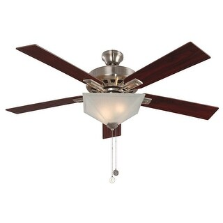 "Design House 154401 Hann 52"" 4 Blade Indoor Ceiling Fan with Light Kit - satin nickel"