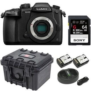 Panasonic GH5 Lumix 4K Mirrorless Camera w/ Hard Case & 64GB SD Card Bundle