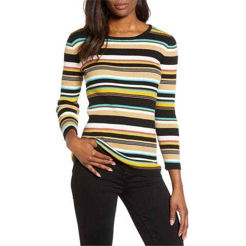 Vince Camuto Womens Striped Pullover Sweater