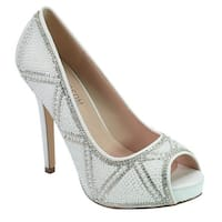 De Blossom Bridal Adult White Pearl Rhinestone Peep Toe Pumps