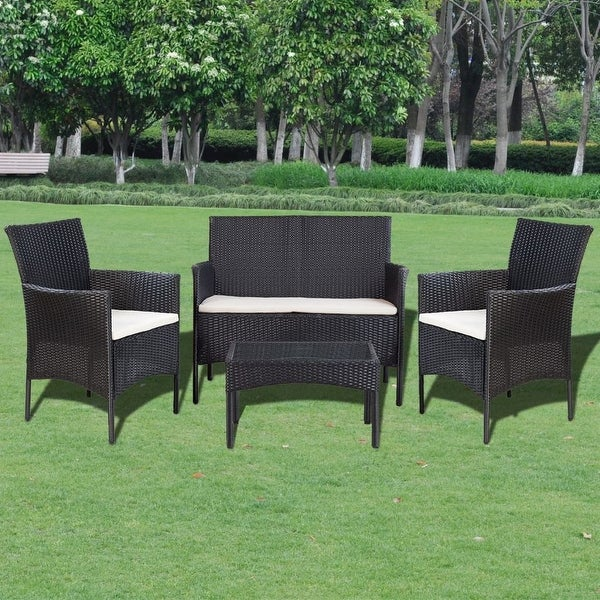 "vidaXL 4 Piece Garden lounge Set with Cushions Poly Rattan Black - 42"" x 23"" x 33"""
