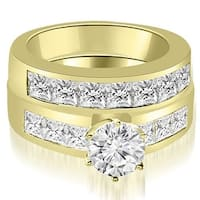 2.90 cttw. 14K Yellow Gold Channel Set Princess Cut Diamond Bridal Set
