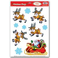 Club Pack of 120 Santa and Reindeer Window Clings Christmas Decorations 17""