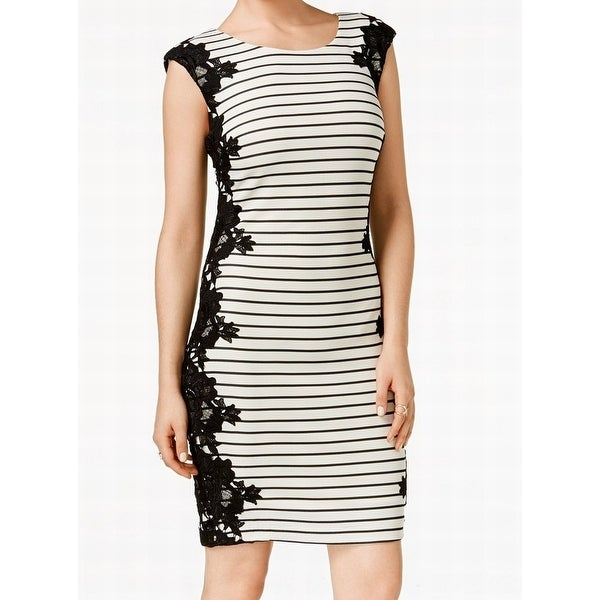 aef1b18b98e Shop Jax NEW White Black Women s Size 10 Striped Lace Panel Sheath Dress -  Free Shipping On Orders Over  45 - Overstock.com - 16675475