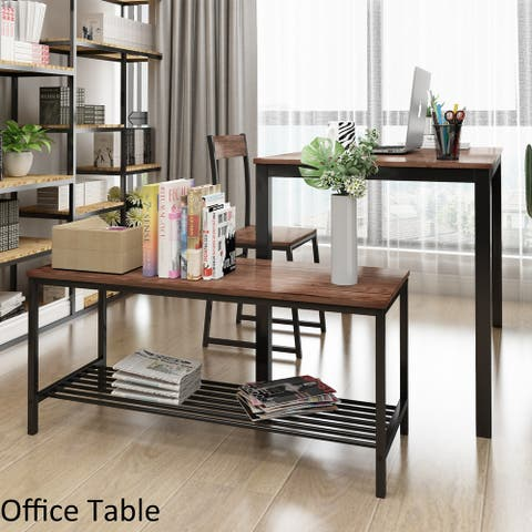 4 Piece Dining Set for 4 Kitchen Table Set with 2 Chairs and Bench