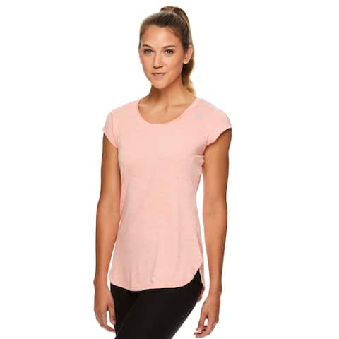 Reebok Women's Perfect Legend Performance Linear Marled Jersey T-Shirt - Fusion Coral Heather