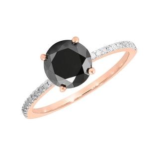 Prism Jewel 1.78 Carat Round Black Color Diamond with Diamond Solitaire Ring - White G-H
