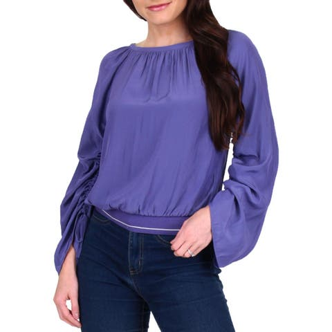 Ramy Brook Womens Johanna Blouse Gathered Blouson