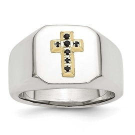 Stainless Steel & 14k with Sapphires Cross Ring (14 mm)