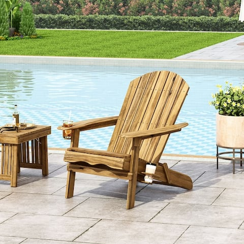 Bellwood Outdoor Acacia Wood Folding Adirondack Chair by Christopher Knight Home