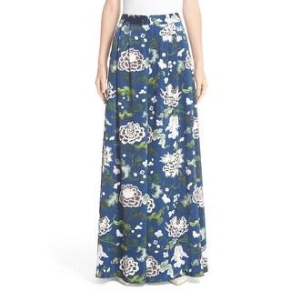 Adam Lippes Blue Women's Size 10X33 Floral Dress Pants Silk