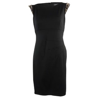Vince Camuto Women's Studded Shoulders Ponte Sheath Dress - 10