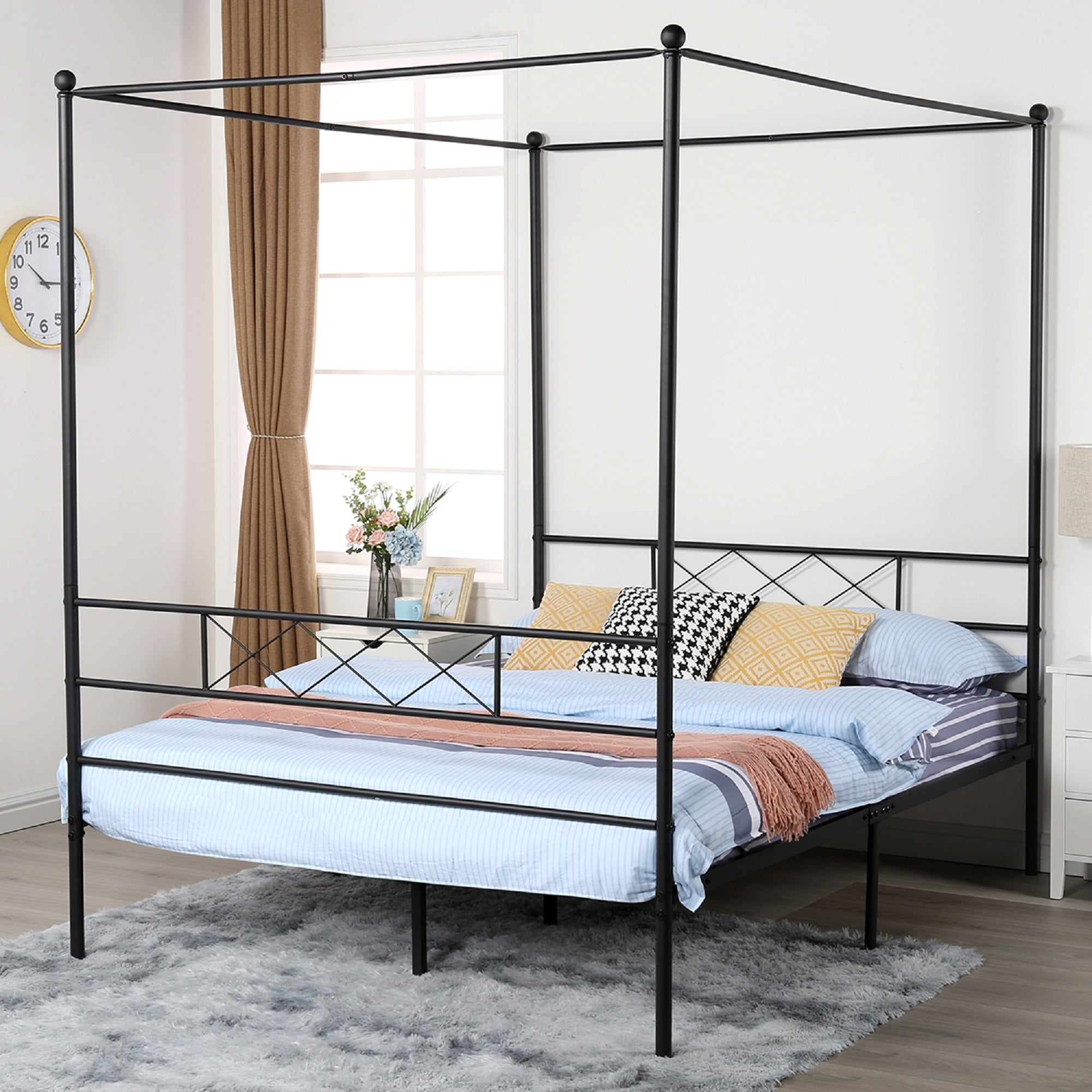 Shop Black Friday Deals On Vecelo Metal Canopy Bed Frame Twin Full Queen 3 Options Overstock 32500330