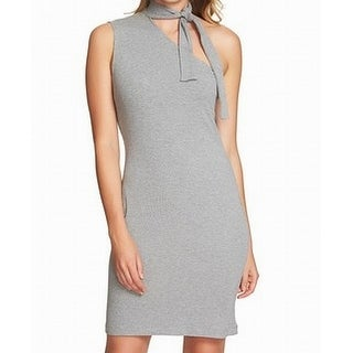 1. State Womens One Shoulder Ribbed Sheath Dress