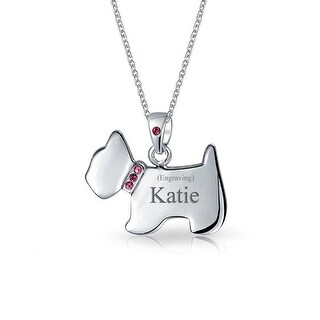 Bling Jewelry Scottish Terrier Dog CZ Pink Pendant Necklace 16 Inches Silver